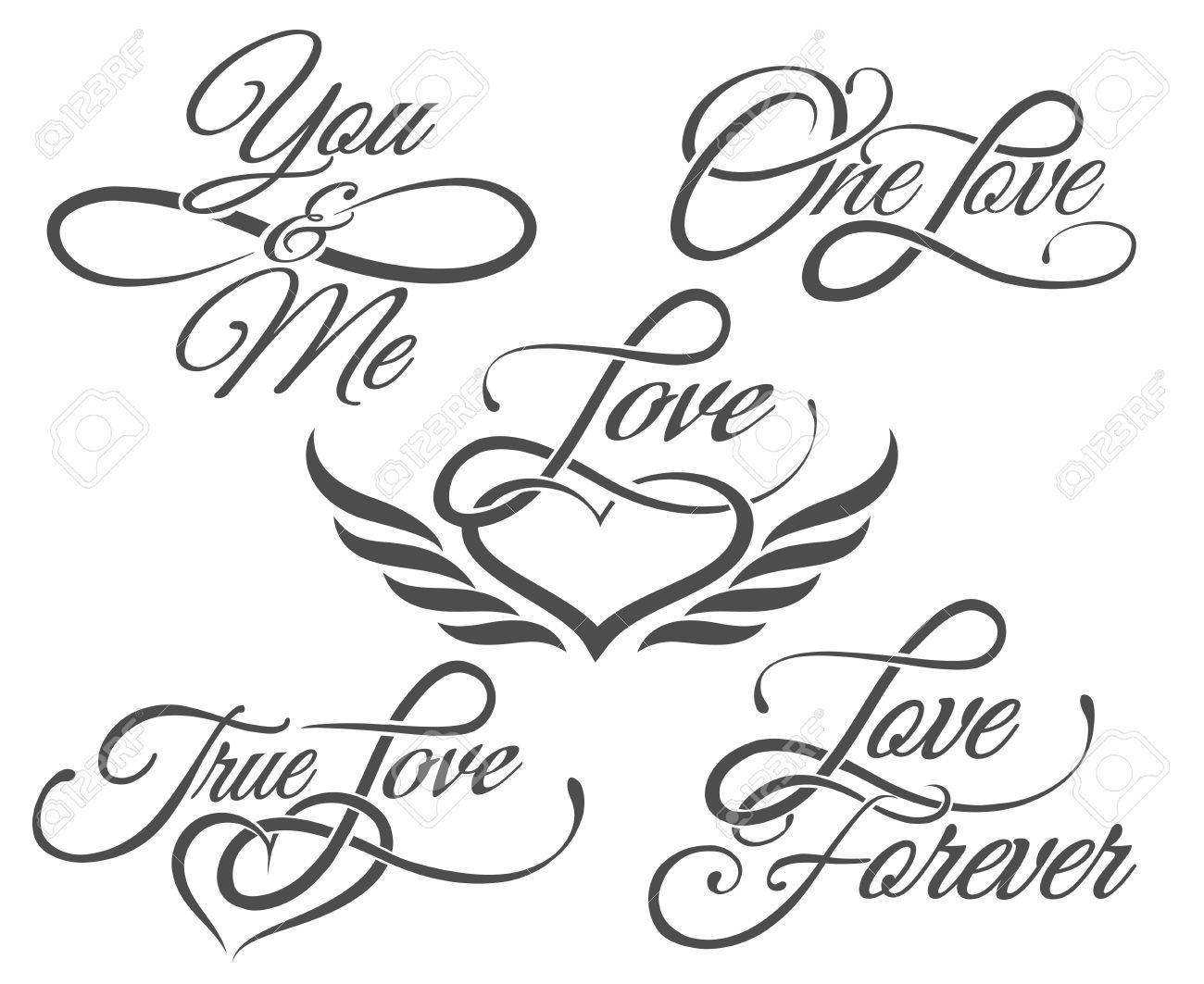 Set Of Love Lettrage Dans Le Style De Tatouage Isole Sur Blanc Clip Art Libres De Droits Vecteurs Et Illustration Image 52523946