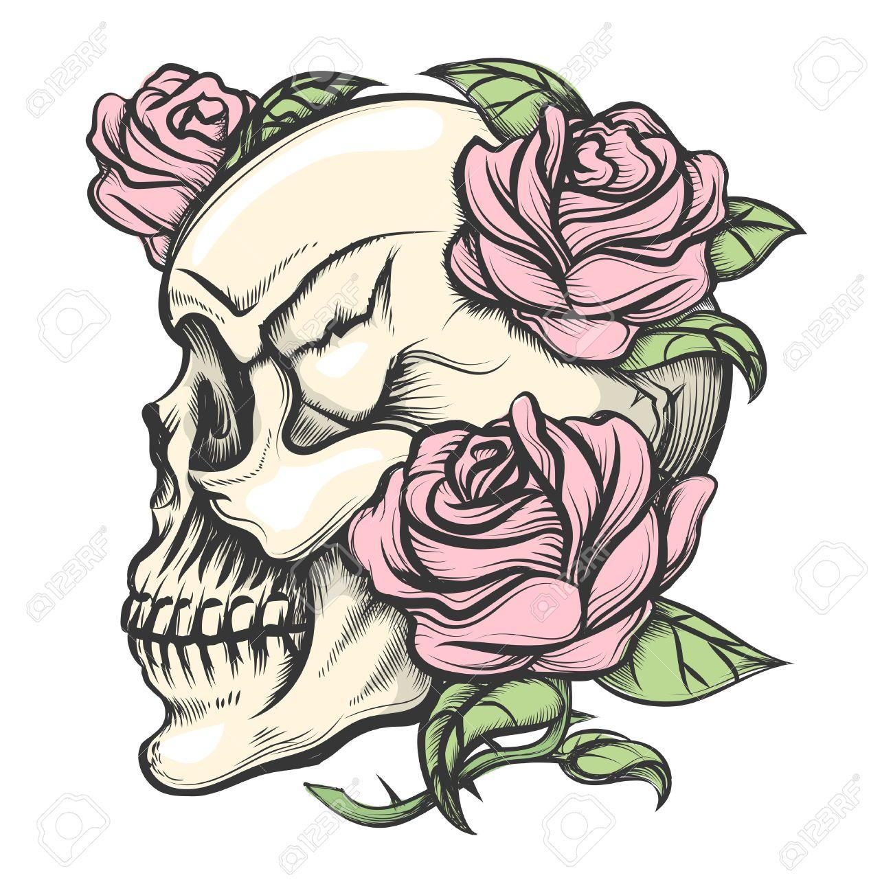 Cráneo Humano Con Las Rosas Dibujado En El Estilo Del Tatuaje