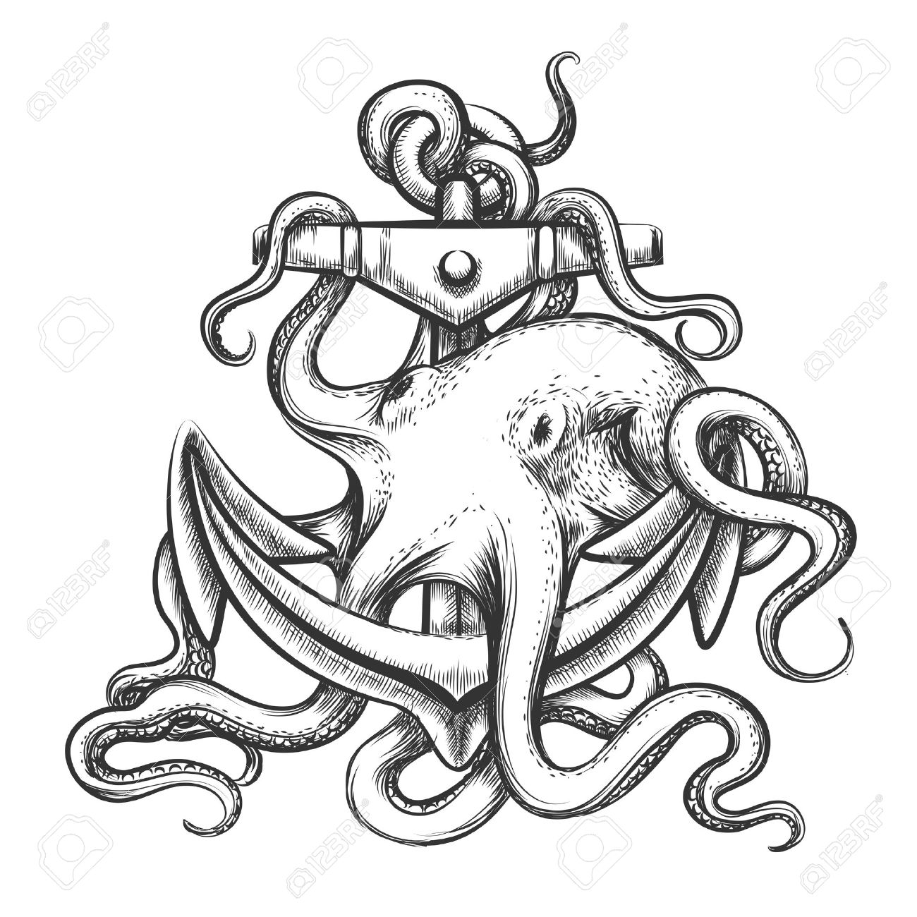 Octopus With An Anchor Drawn In Tattoo Style Isolated On White