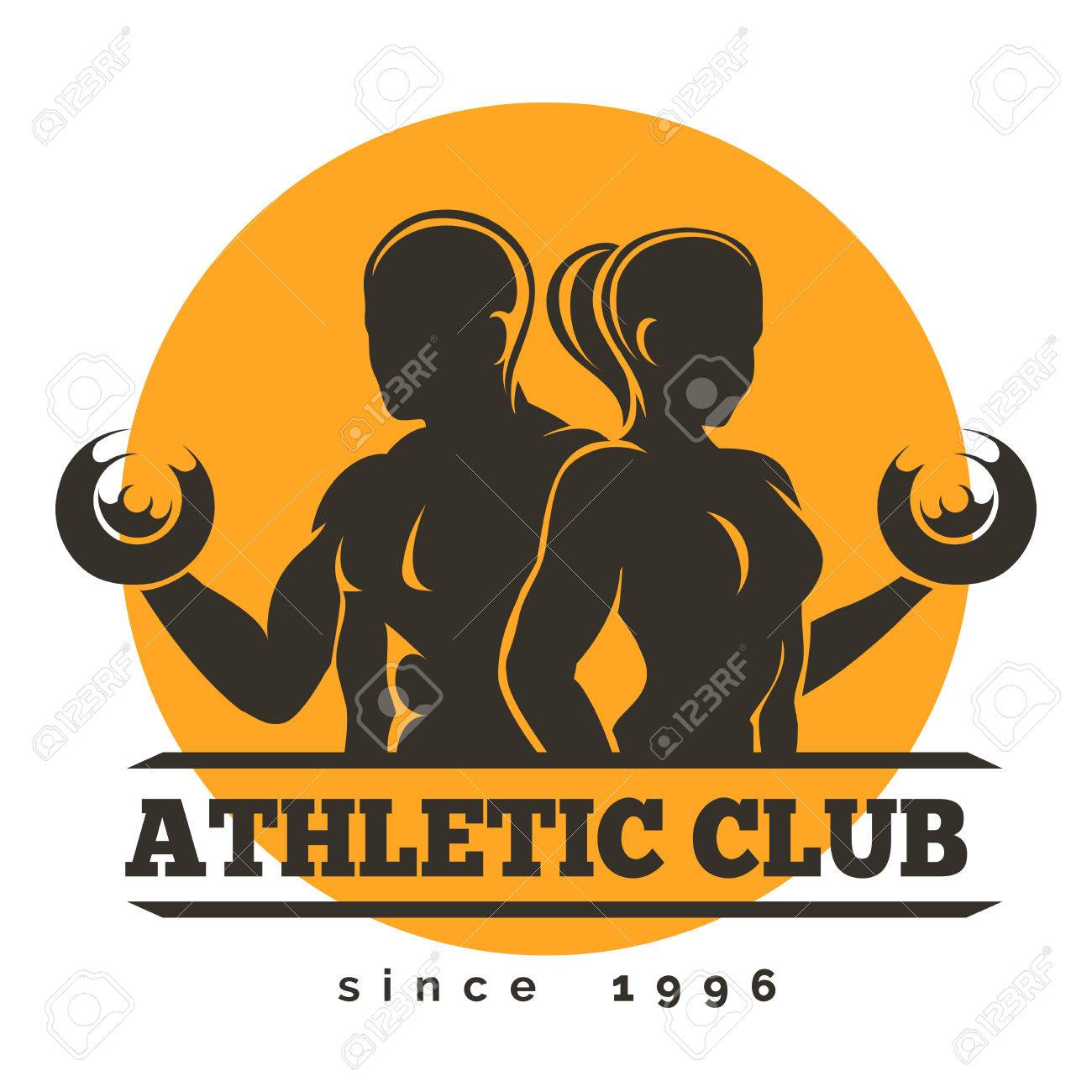 Sport, Gym or Athletic Club Emblem. Woman and Man holds dumbbells. Free font used. Isolated on white. - 53666580