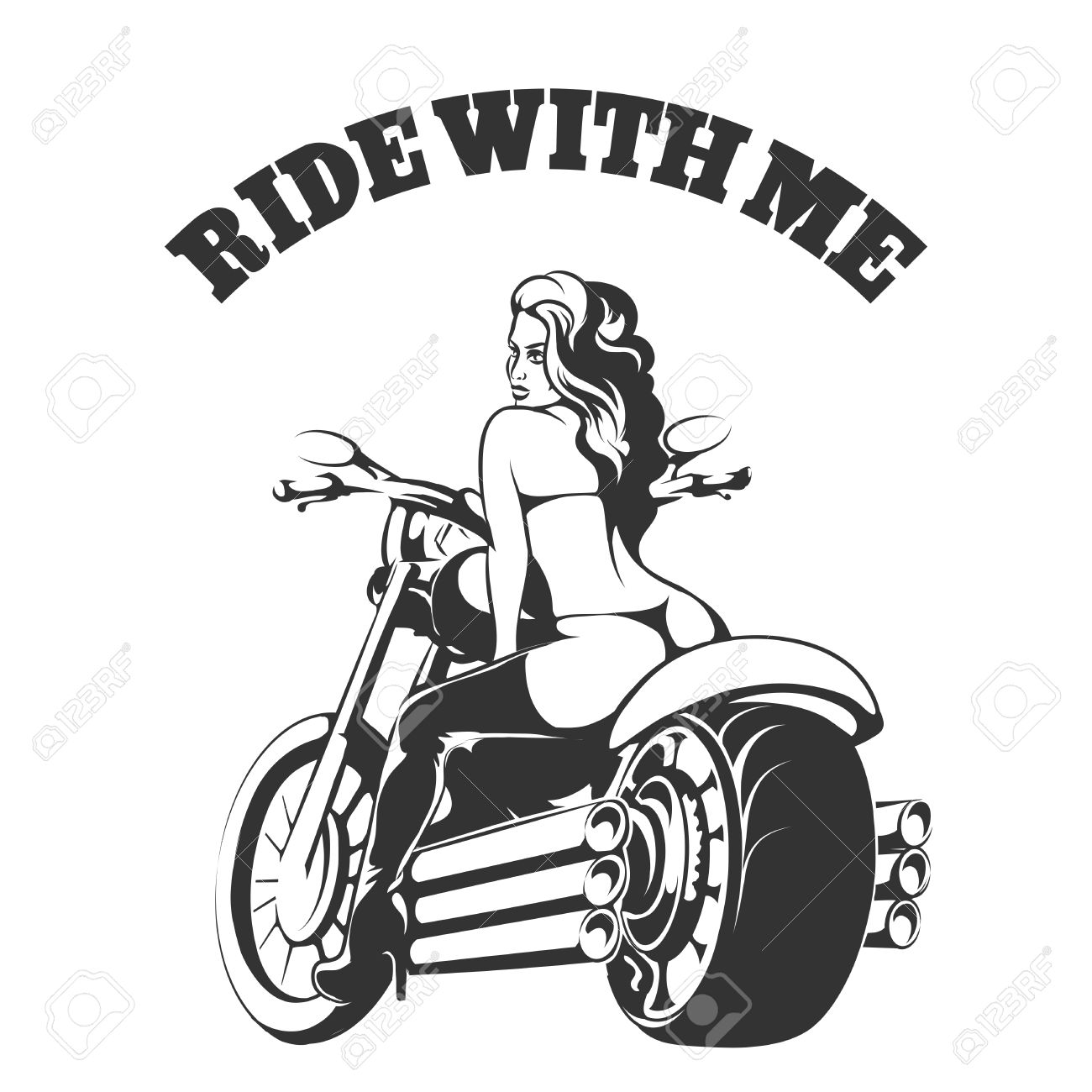 Pin up motorcycle line art jpg - Pinup Sexy Biker Girl In Bikini And Boots On A Motorcycle With Wording Ride With