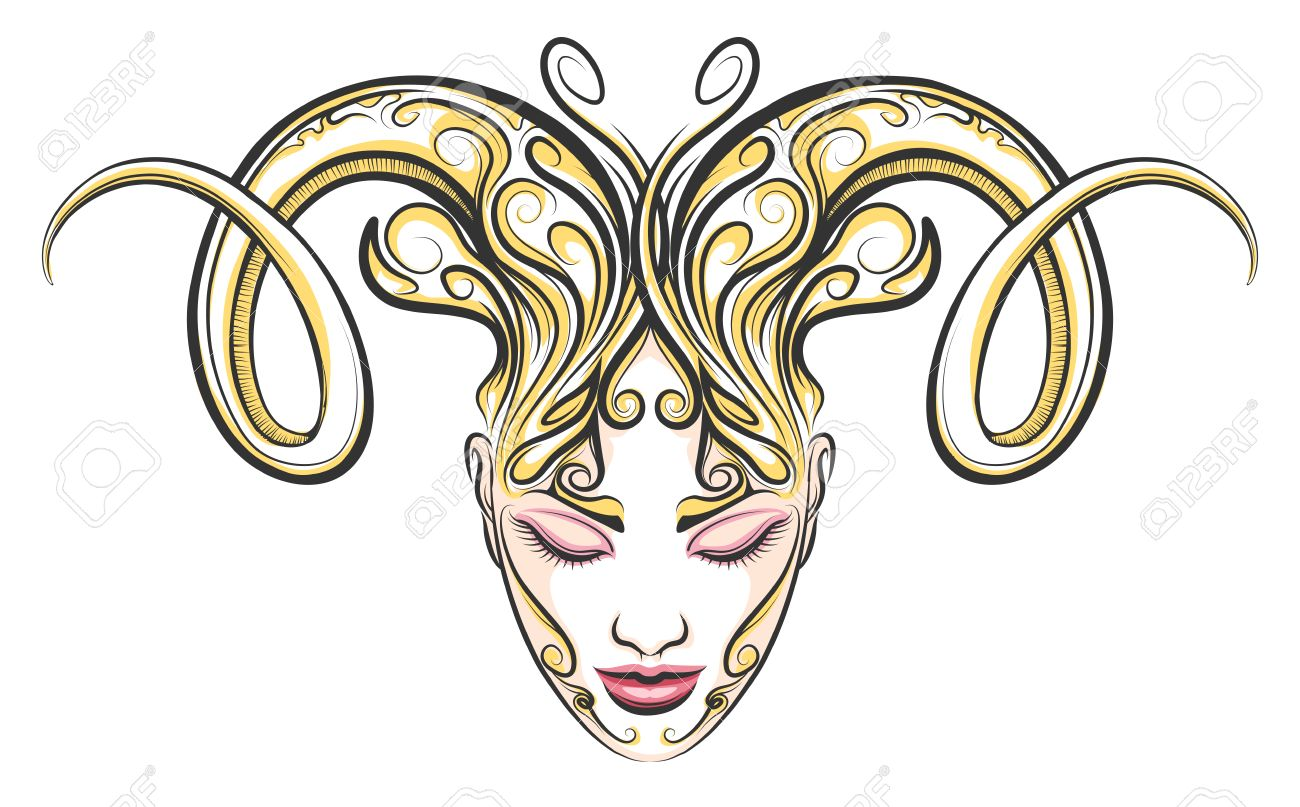 Female Face With Ram Horns Illustration In Tattoo Style Aries