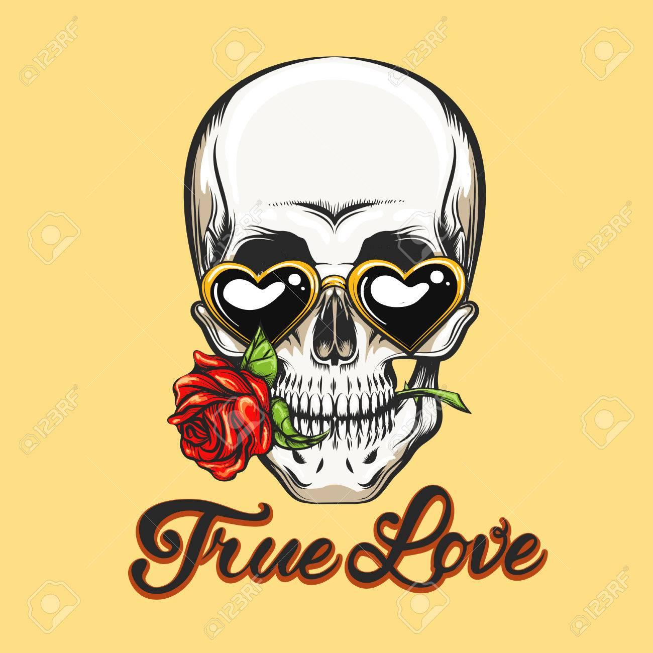 Cráneo Humano En Gafas En Forma De Corazón Con Flor Rosa En La Boca ...