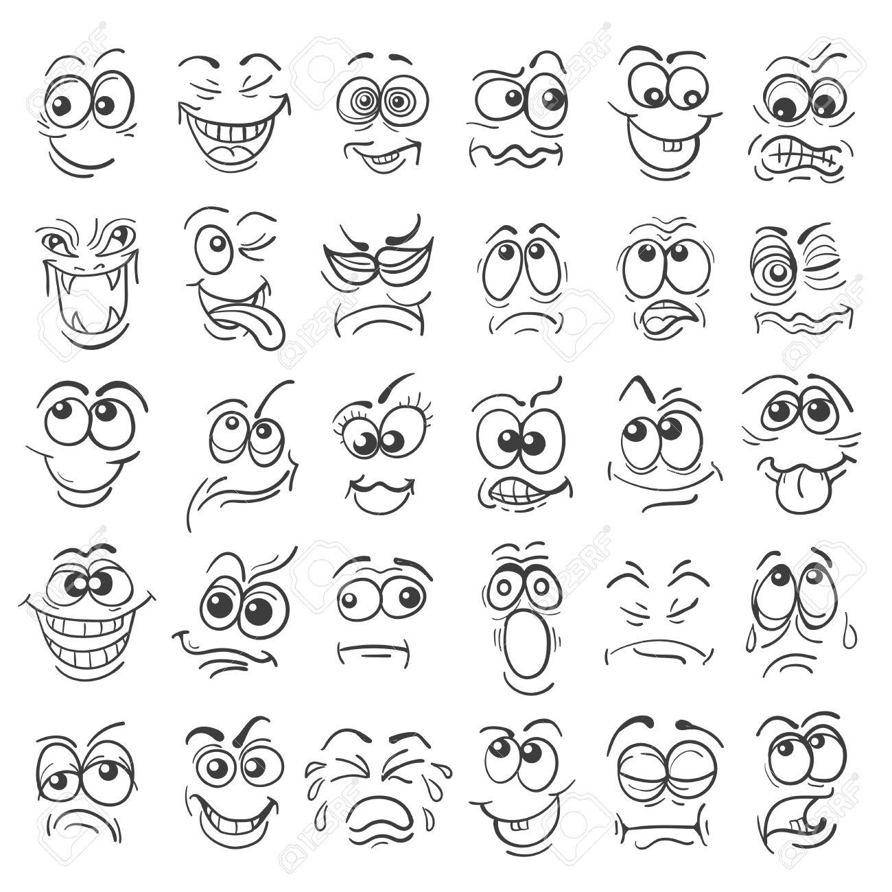 Estableció Cara De Dibujos Animados Emoción Diversas Expresiones Faciales En El Estilo De Dibujo Aislado En Blanco Ilustración Del Vector
