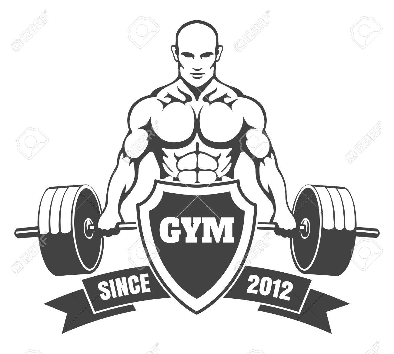 Fitness Or Gym Emblem. Athletic Man With A Barbell, Shield And ...