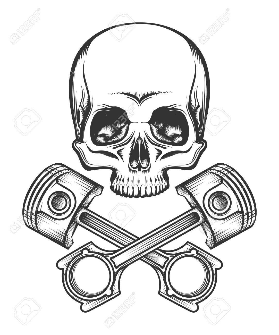 ece92d1f5b89f Human skull and crossed engine pistons. Isolated on white vector  illustration. Stock Vector -