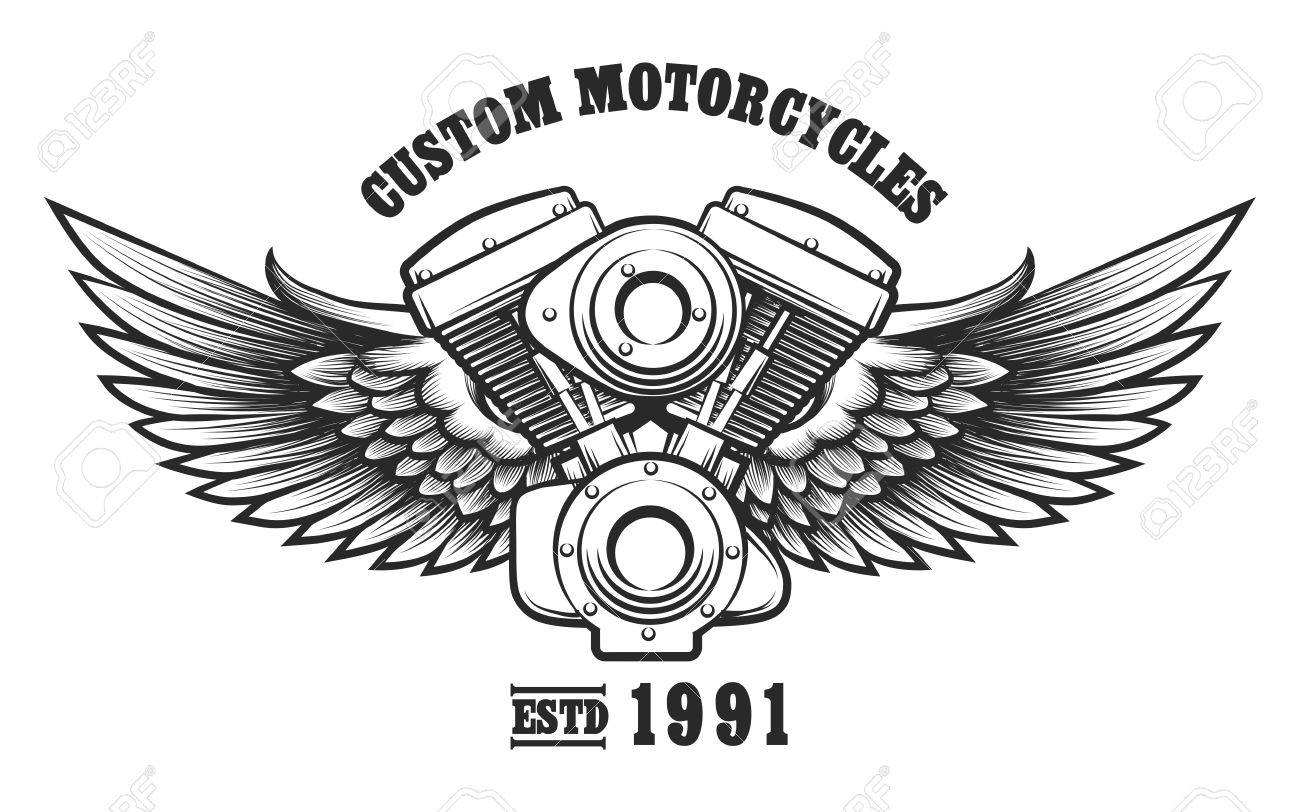 Motorcycle Engine And Wings In Tattoo Style With Wording Custom Banco De Imagens Workshop Emblem Symbol Design Element