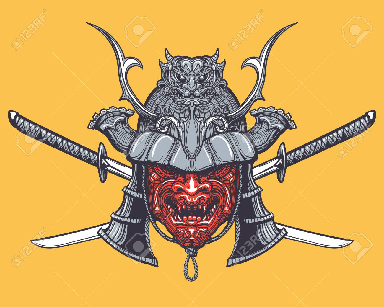 Hand Drawn Japanese Samurai Mask With Two Crossed Swords Vector