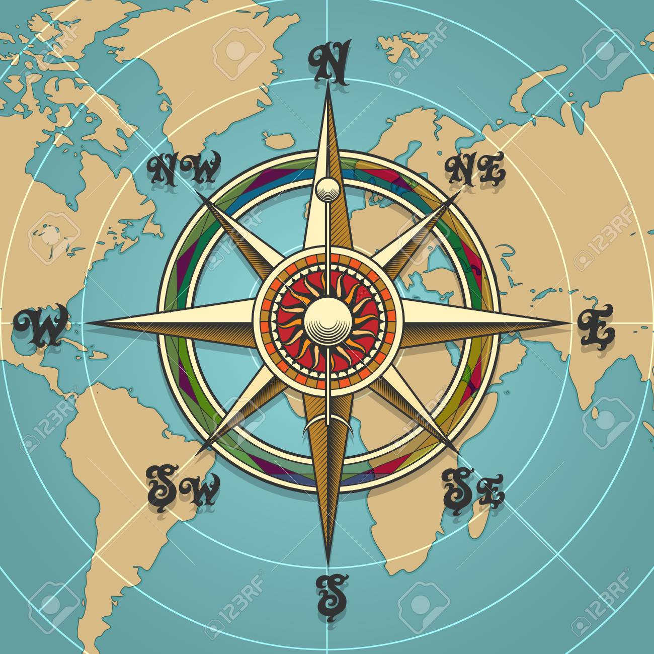 Classic vintage wind compass rose on map background drawn in retro style. Vector illustration. - 92100334