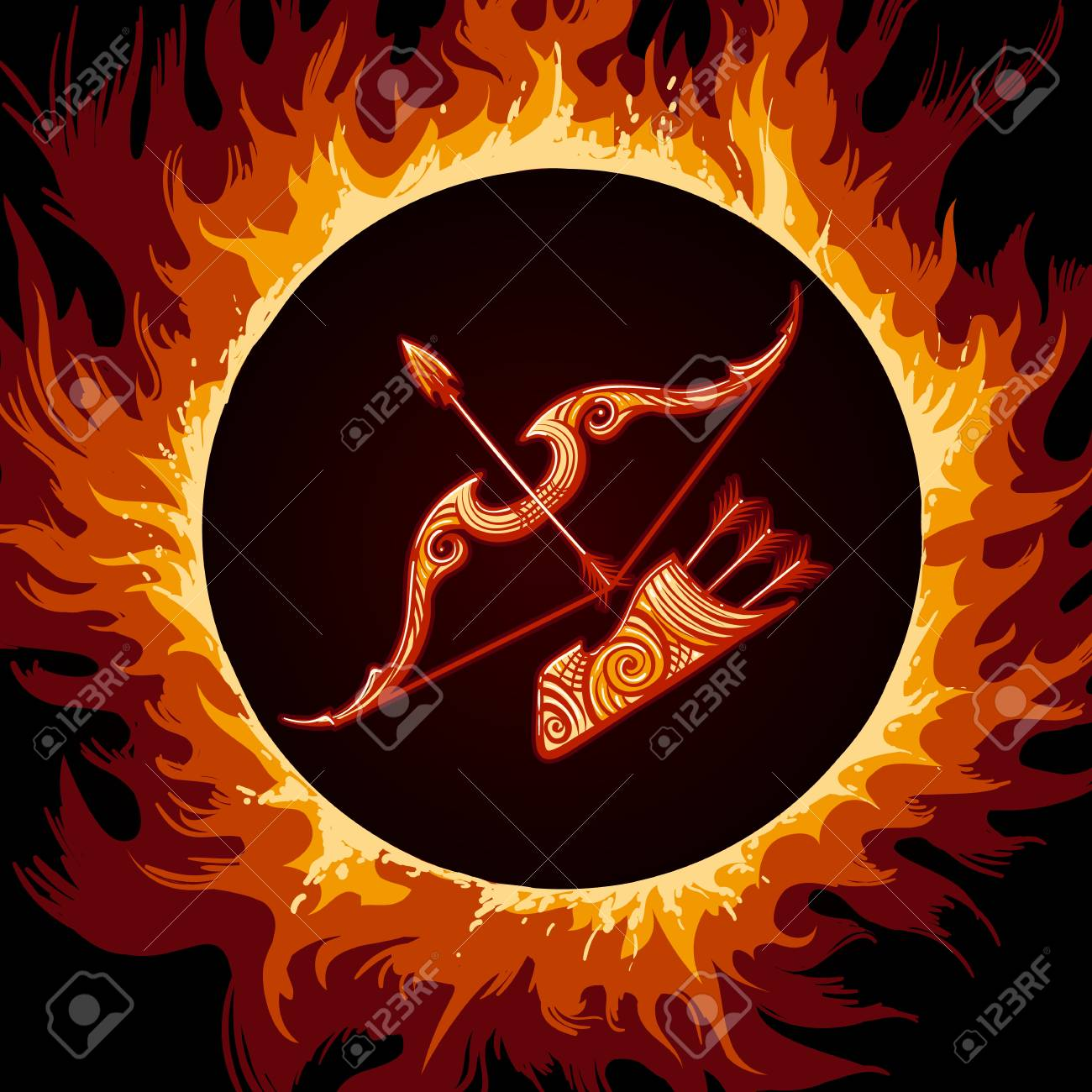 d562d5e3b75ab Bow and arrows in Flame. Zodiac symbol Sagittarius on fire background.  Vector illustration.