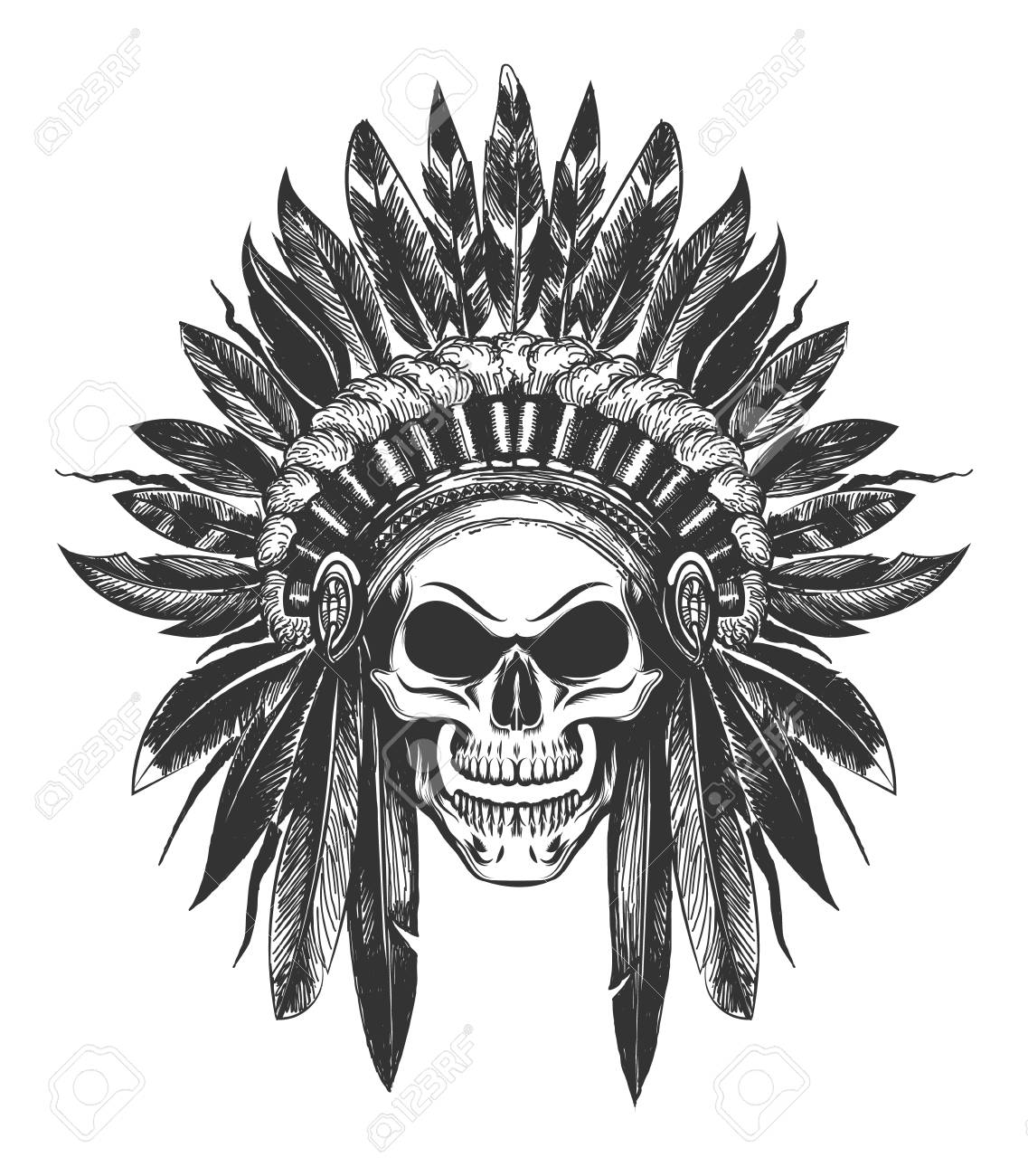 Human Skull in Native American Indian War Bonnet drawn in tattoo style. Vector illustration. - 94781726