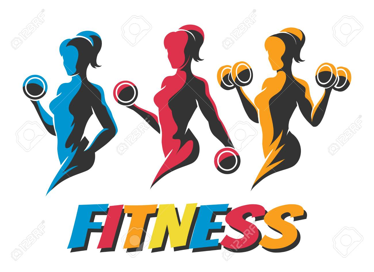 Three Colorful Woman Holding Weight Silhouettes.B odybuilder Logos Templates Set. Fitness Logo Design, Emblem Graphics. Vector Illustration. - 103542012