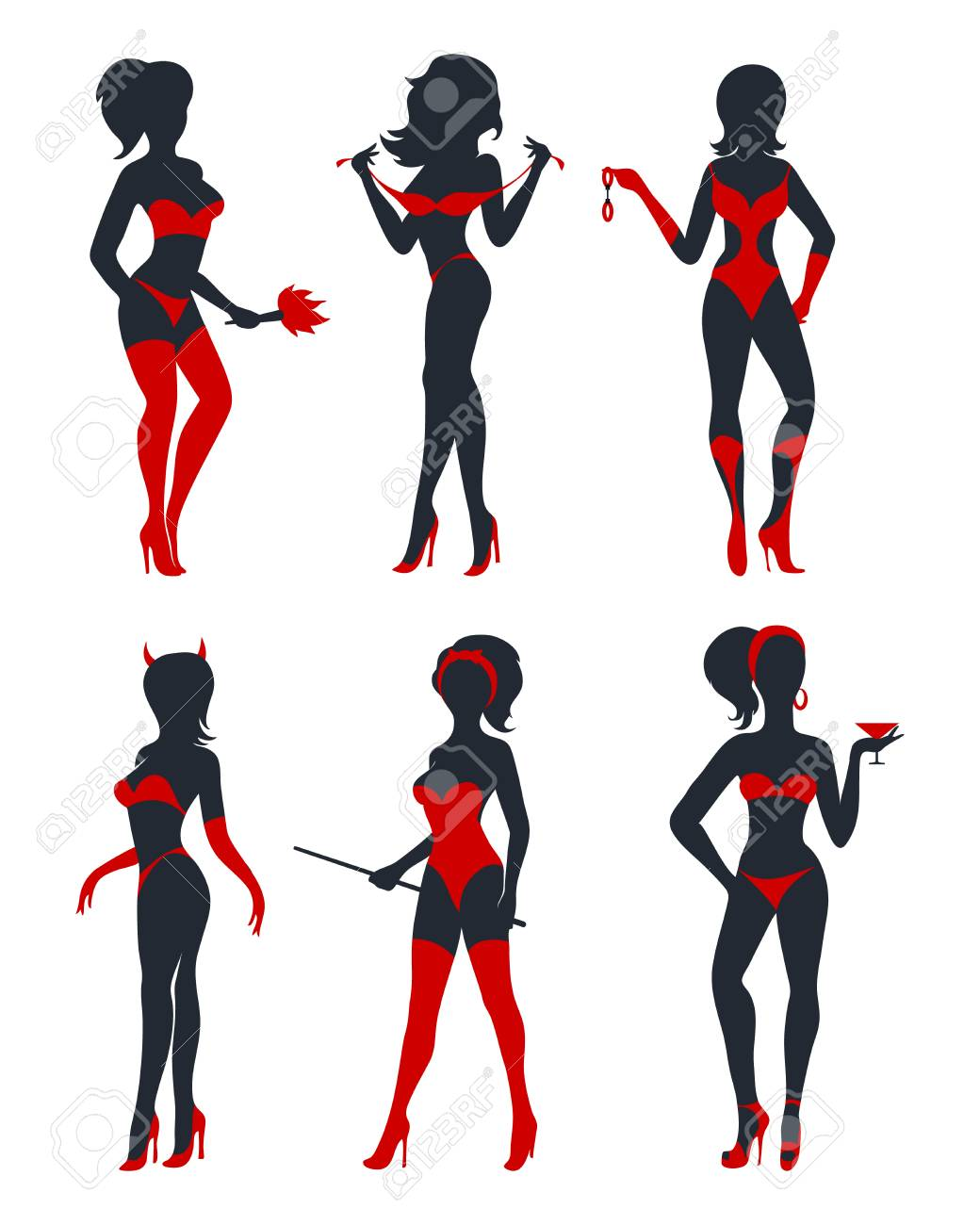 Set of beautiful devil women in lingerie, stockings and high heels. Black and red silhouettes isolated on white. Vector illustration. - 104681108