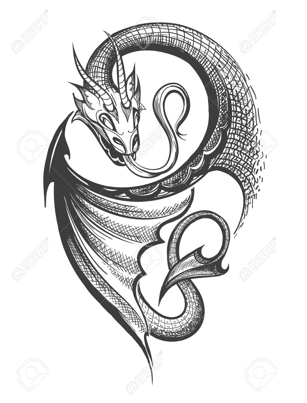 Hand made Dragon drawn in Tattoo Engraving Style. Vector Illustration. - 105287228