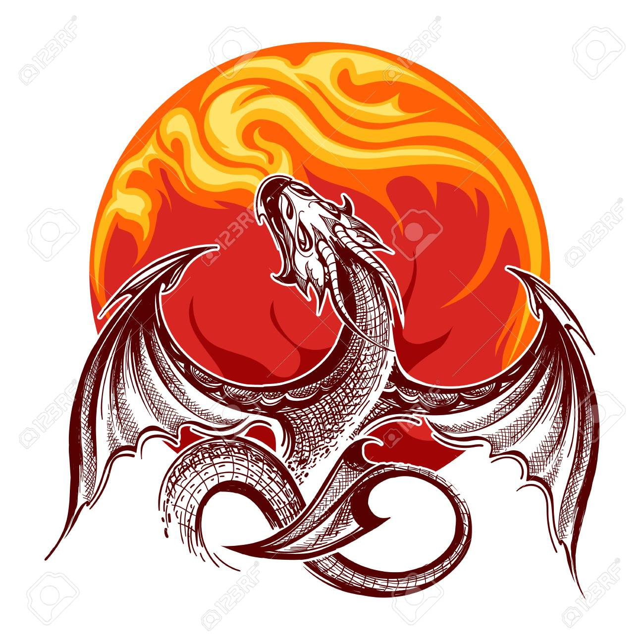 Flying fire-breathing Dragon on flame background. Vector illustration. - 123436621
