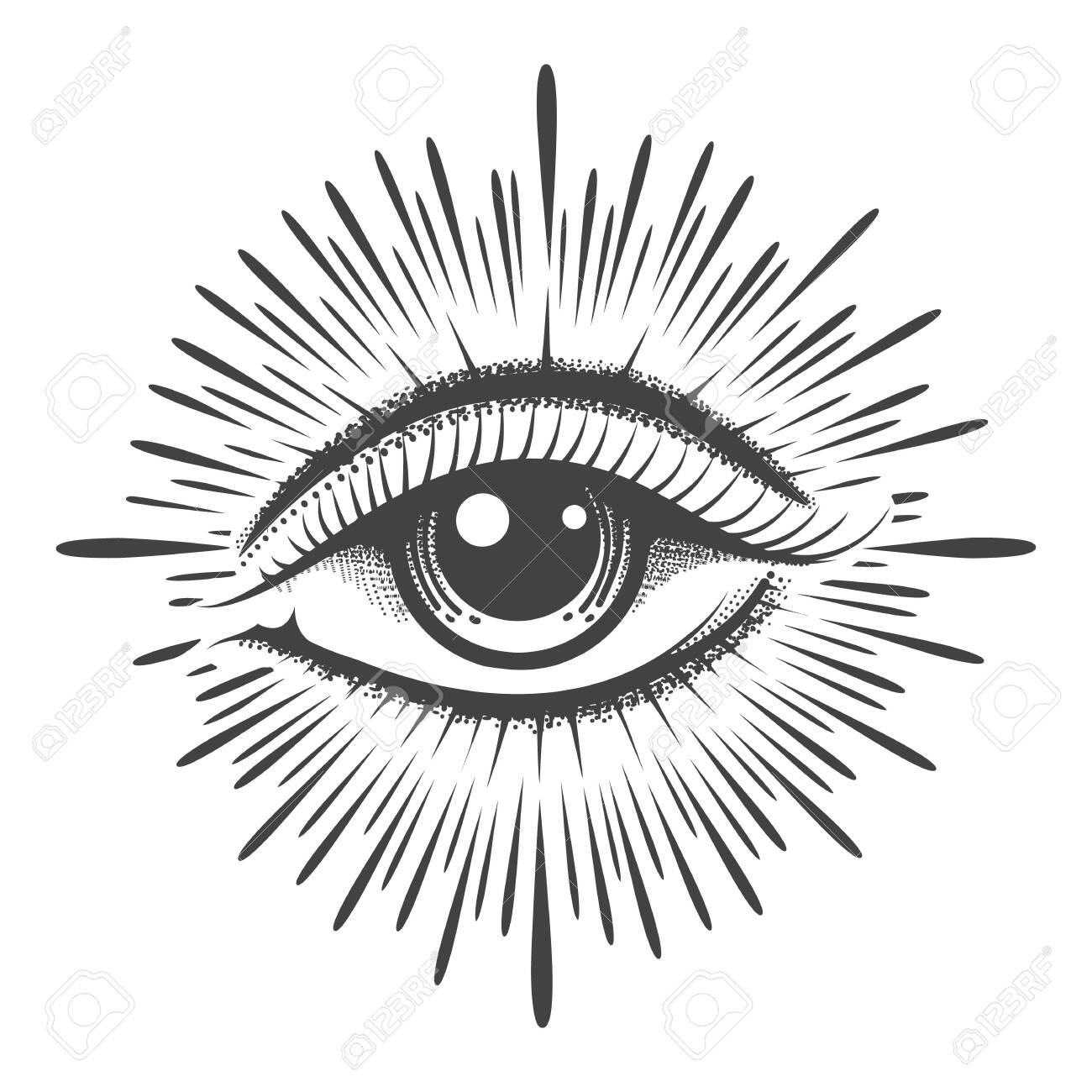 All seeing eye masonic symbol tattoo. Vision of Providence emblem. Vector illustration. - 144493032