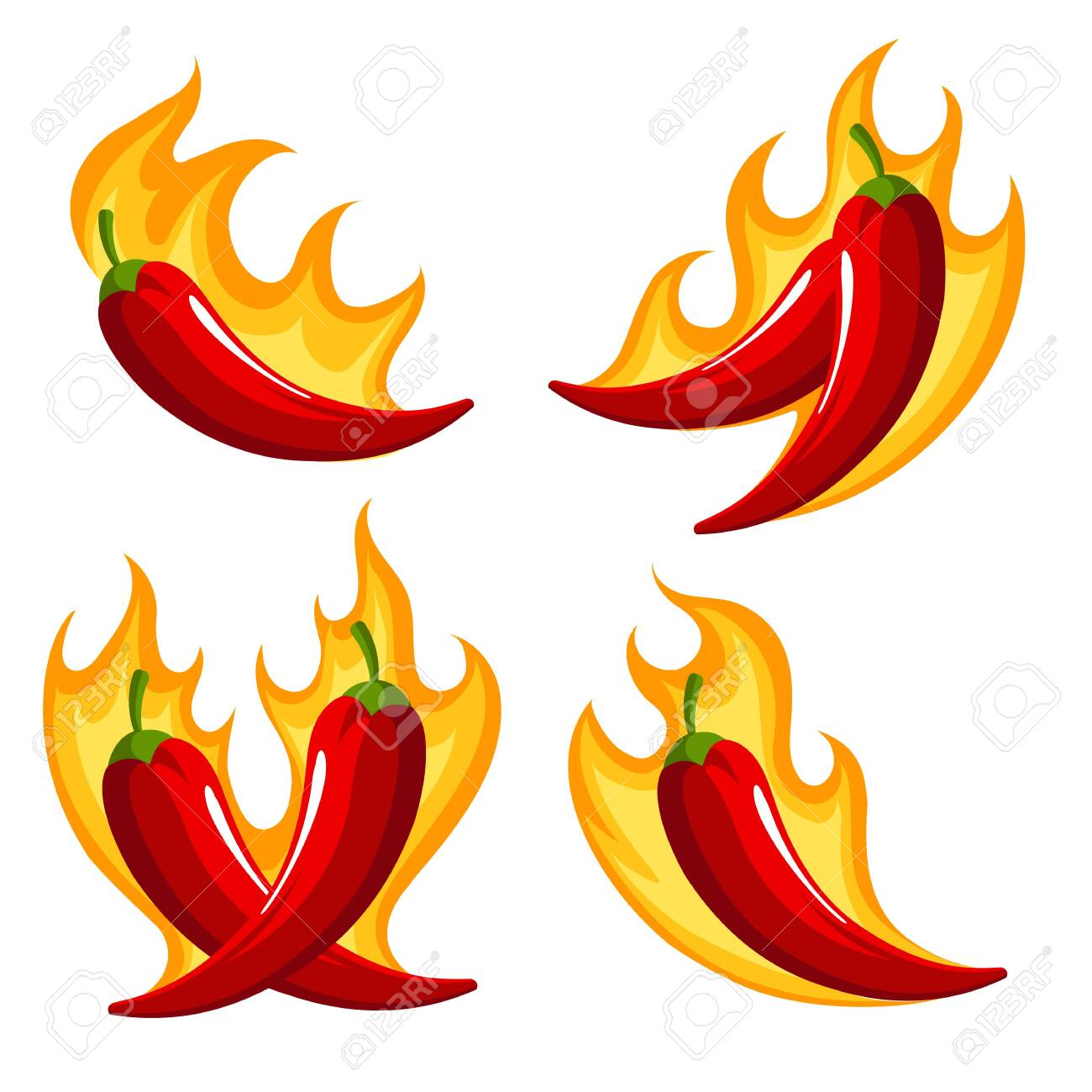 Set of Red Chili Peppers Emblems on Fire isolated on white. - 147021520
