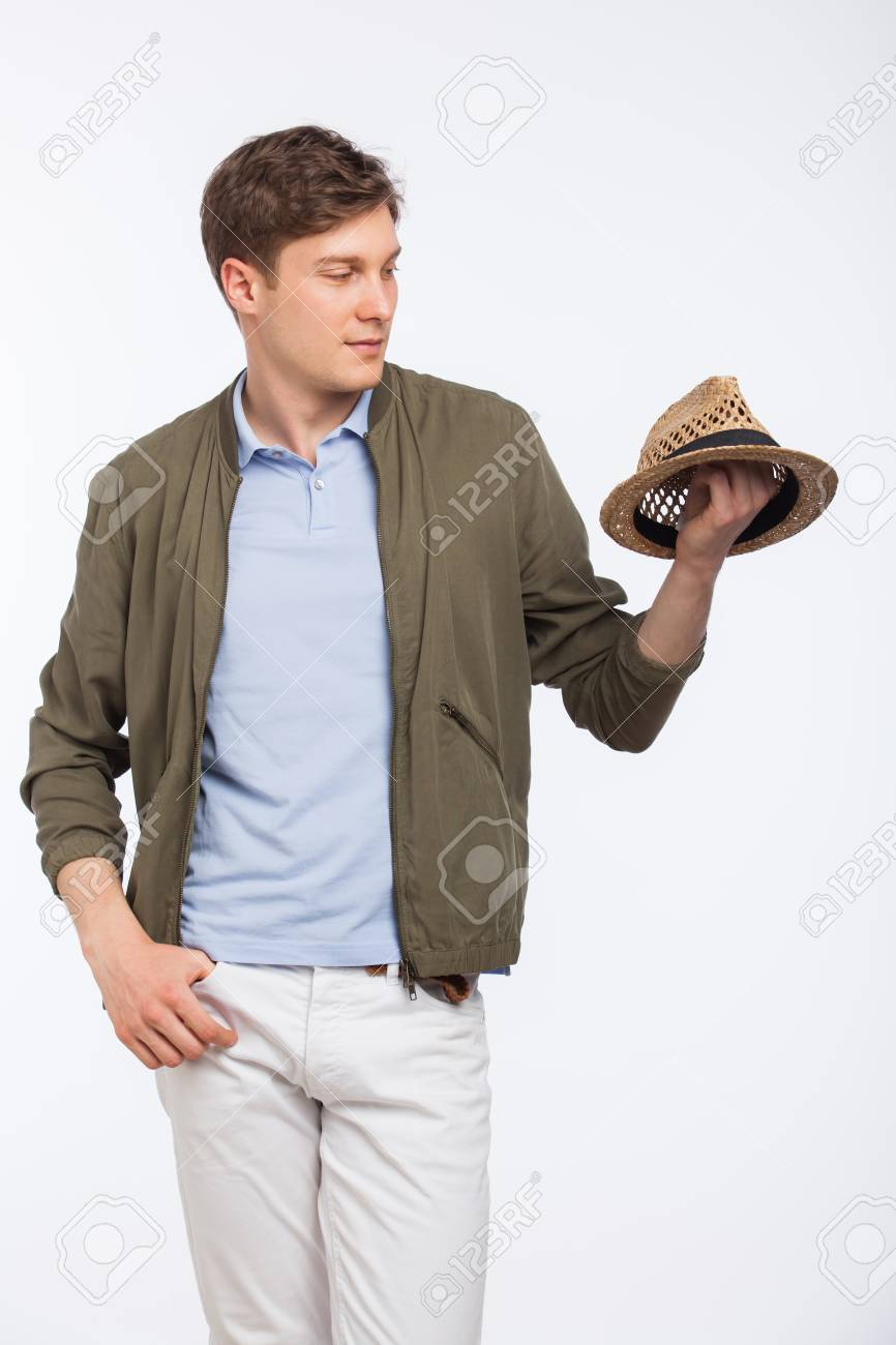 43bd01a1ab6 Handsome Young Man Modern Dressed Looking At His Hat