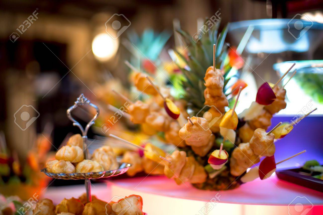 Diversity Of Pastry Decorated With Fruits And Cookies At Wedding ...