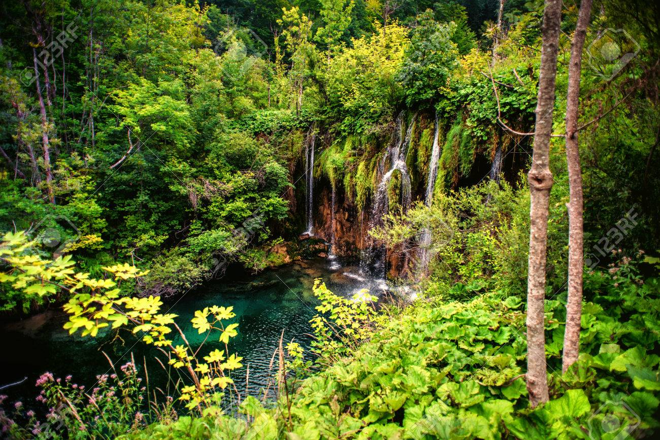 Deep Tropical Forest Waterfall Outdoor Beautiful Landscape With Water Pond And Trees Stock