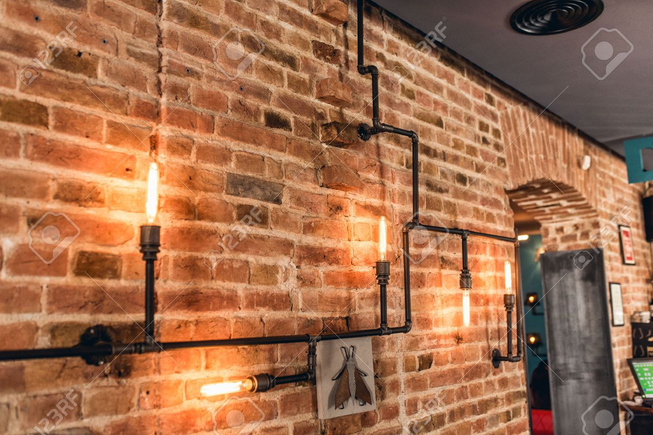 restaurant rustic walls, vintage interior design lamps, metal