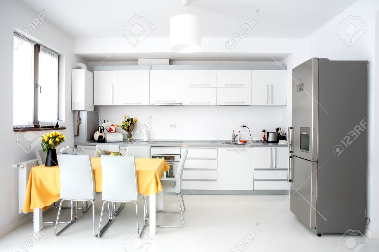 interior design, cucina moderna e minimalista con elettrodomestici ... - Arredamento Minimalista