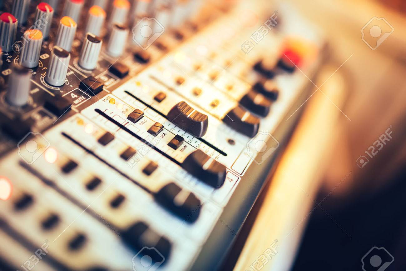 Close-up of music mixer button, setting volume. Music production mixer, adjustment tools - 51142637