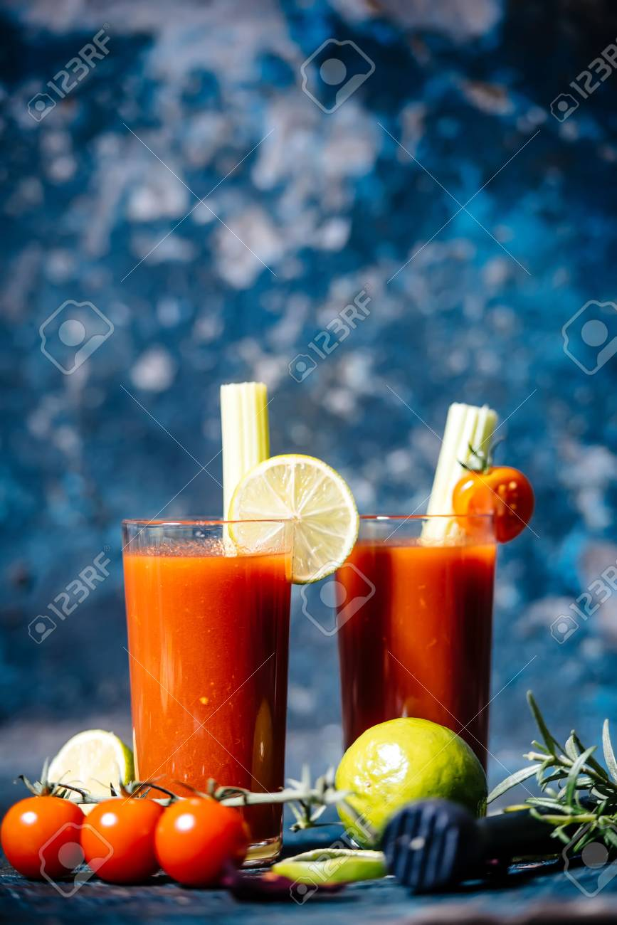 close-up details of bloody mary cocktail served in restaurant
