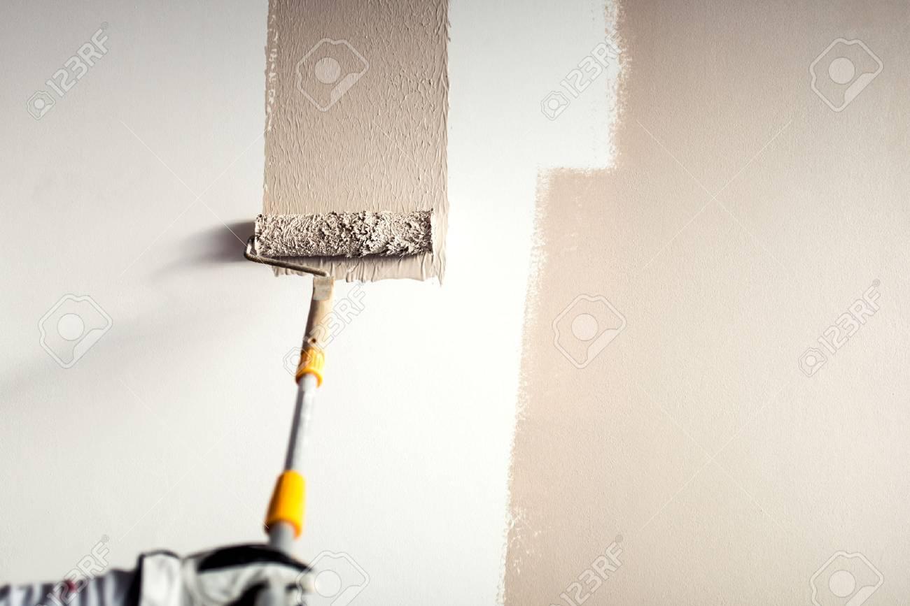 Travailleur Professionnel Plâtrant Un Mur Peinture Avec Décoration