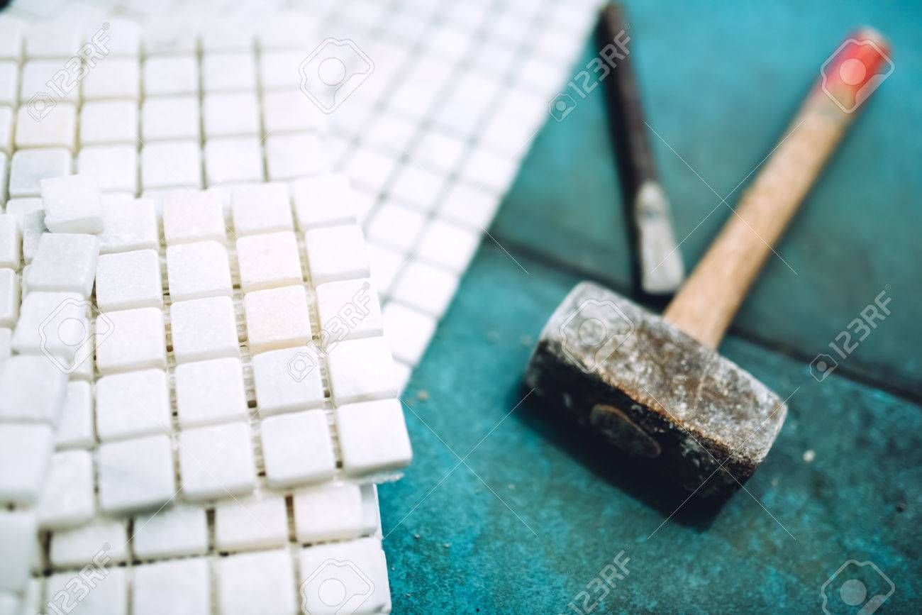 Close Up Details Of Construction Tools, Bathroom And Kitchen.. Stock ...