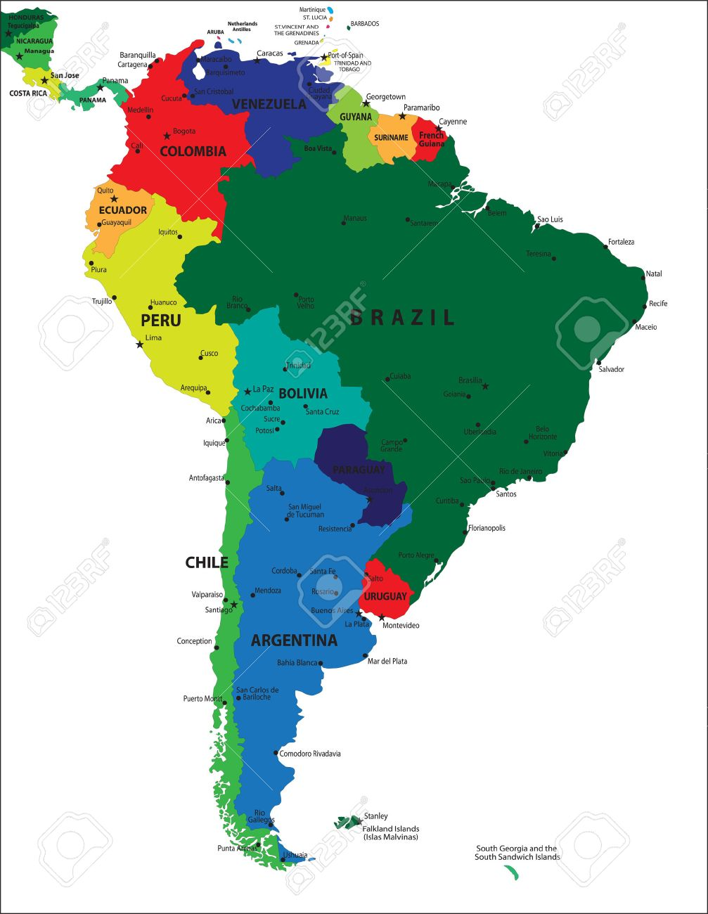 South America political map Stock Vector - 13994138