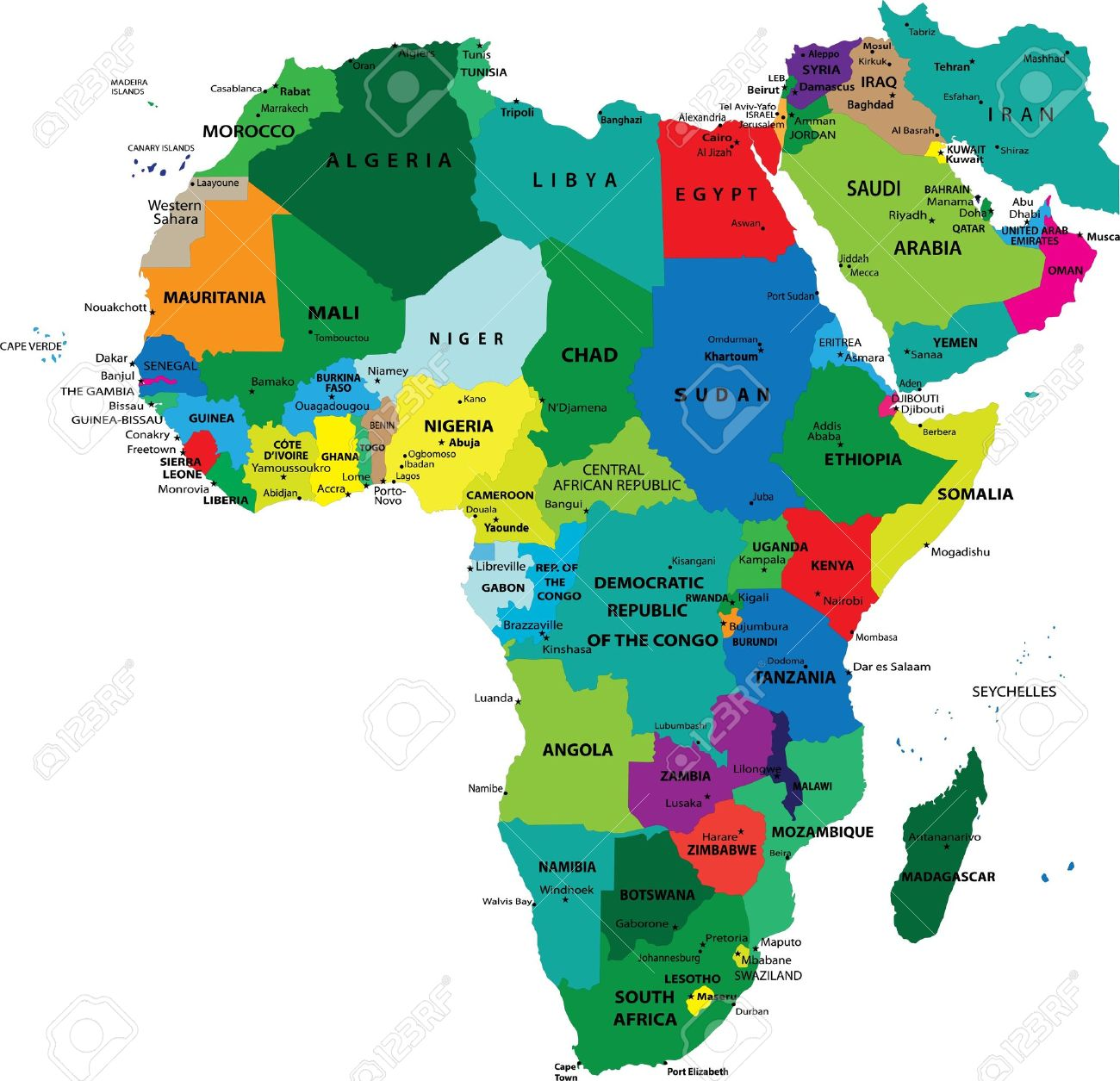 Political Map Of Africa Royalty Free Cliparts Vectors And Stock