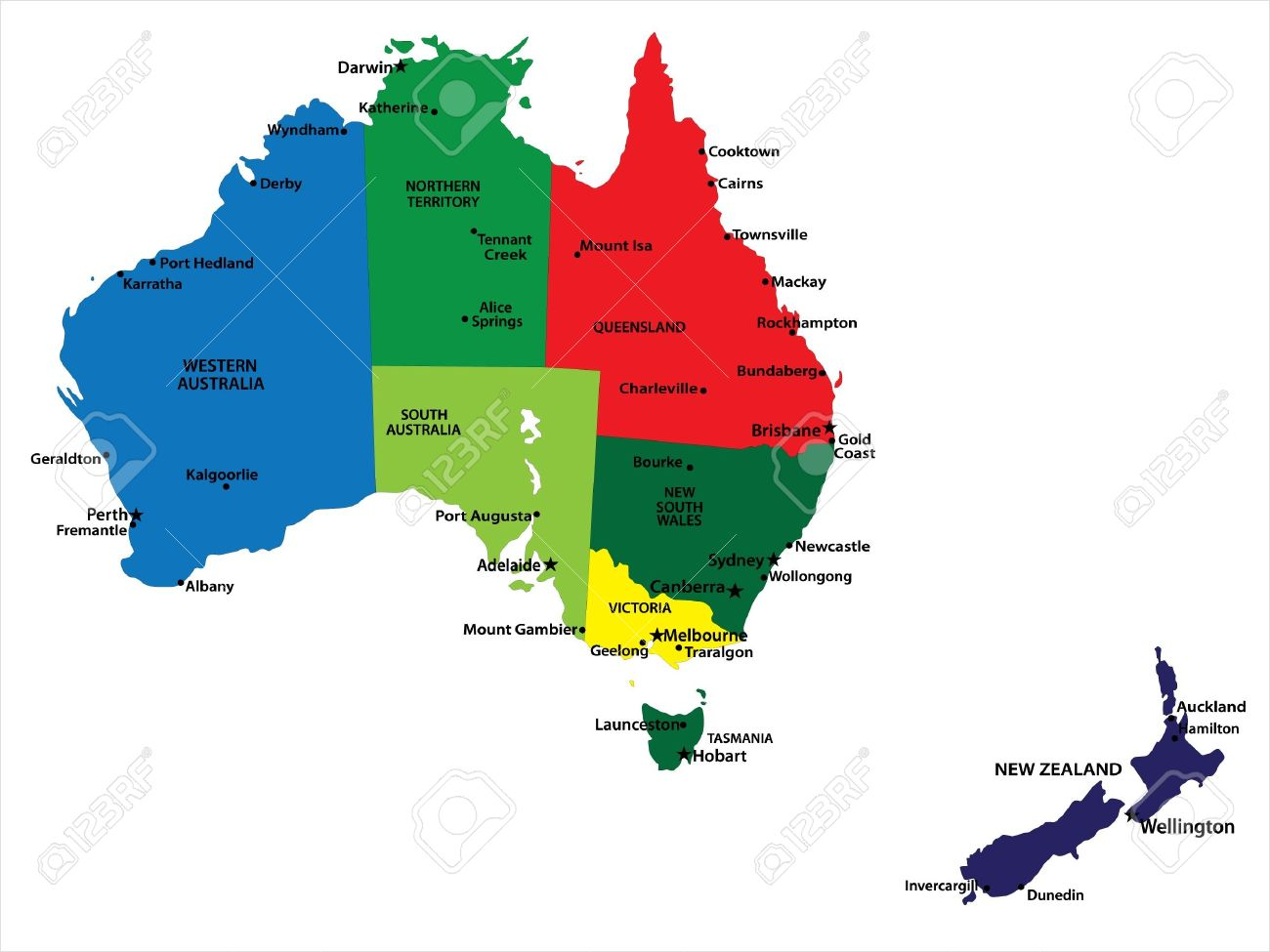 Australia And New Zealand Map Royalty Free Cliparts, Vectors, And