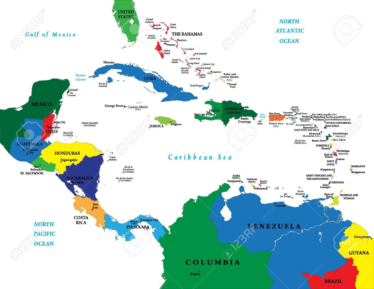 Central America And The Caribbean Islands Map Royalty Free - Map of caribbean islands
