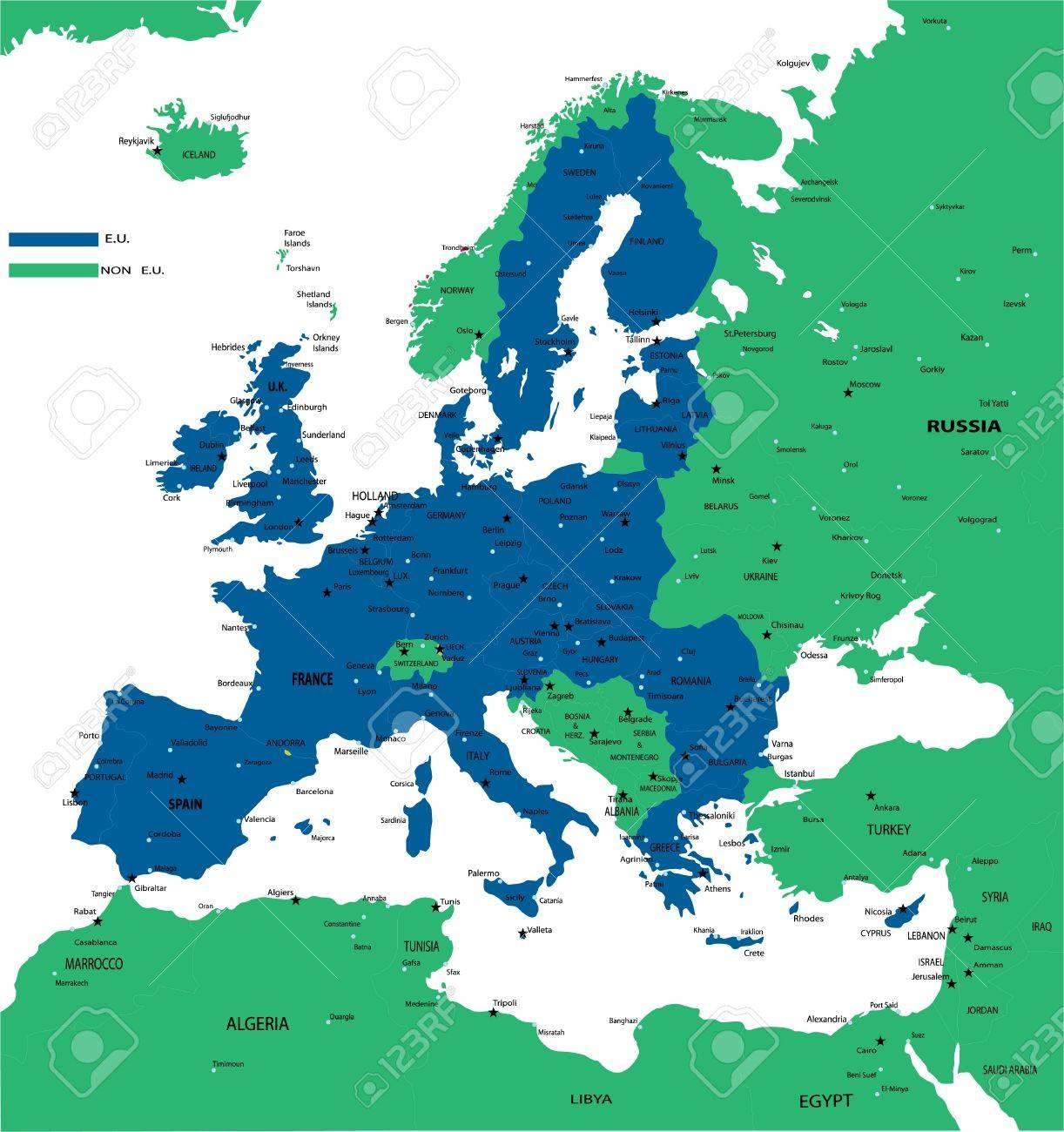 E U  POLITICAL MAP Stock Vector - 14036709