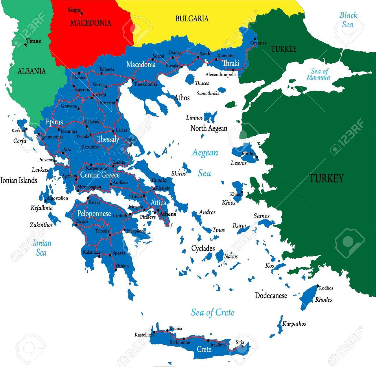Greecepolitical Map Royalty Free Cliparts Vectors And Stock