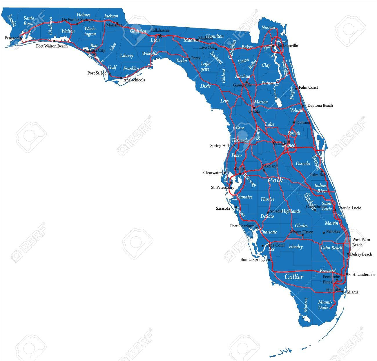 Florida Map Royalty Free Cliparts Vectors And Stock Illustration - Florida map port charlotte