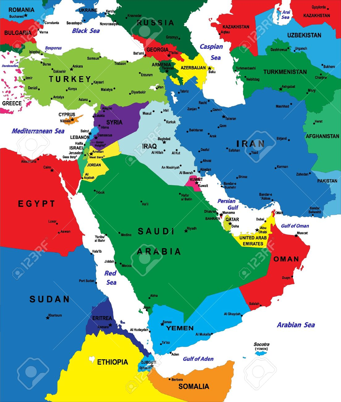 Middleeast Political Map Royalty Free Cliparts Vectors And Stock