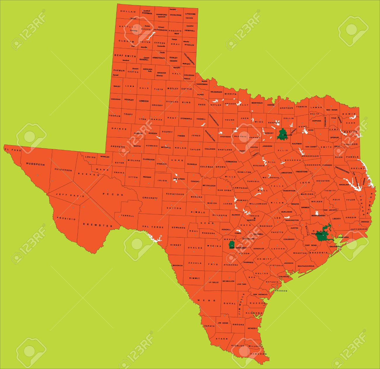 State of texas political map Stock Vector - 14167503