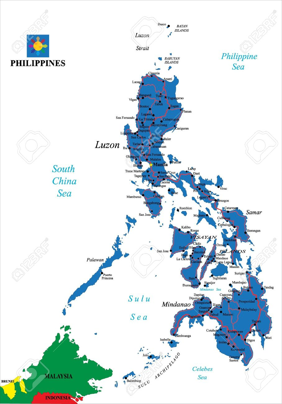 Philippines Political Map Royalty Free Cliparts Vectors And Stock