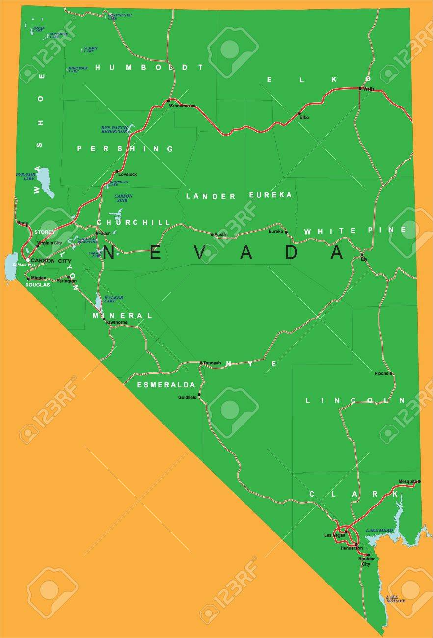 Political Map Of Nevada.State Of Nevada Political Map Royalty Free Cliparts Vectors And