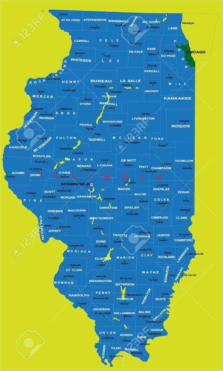 State Of Illinois Political Map Royalty Free Cliparts, Vectors