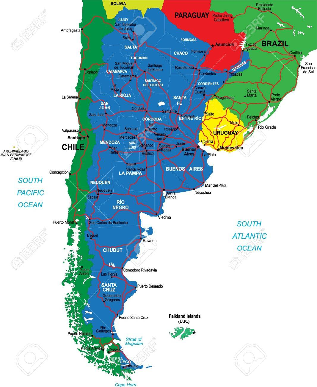 Argentina Map Royalty Free Cliparts Vectors And Stock - Argentina chile map
