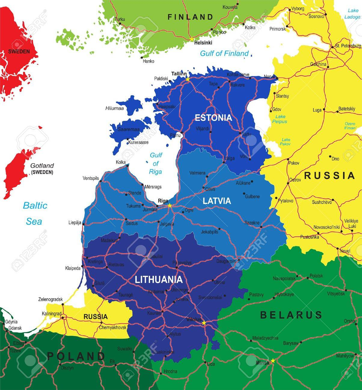 Baltic States Map Royalty Free Cliparts Vectors And Stock