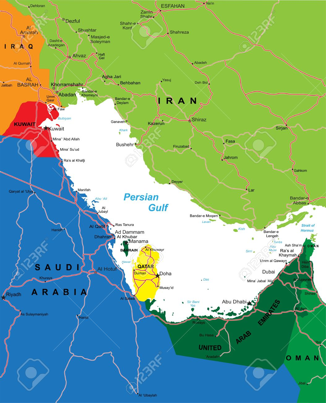 Persian Gulf Area Map Royalty Free Cliparts, Vectors, And Stock ...