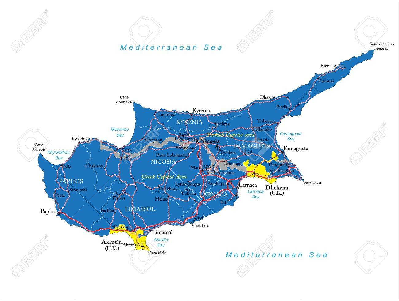 Cyprus Map Royalty Free Cliparts Vectors And Stock Illustration