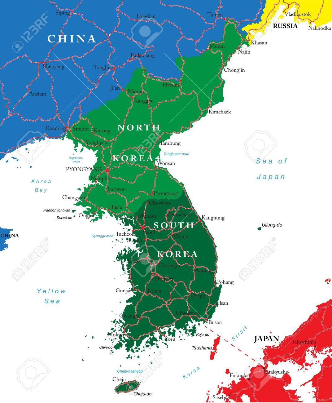 South And North Korea Map Royalty Free Cliparts Vectors And Stock
