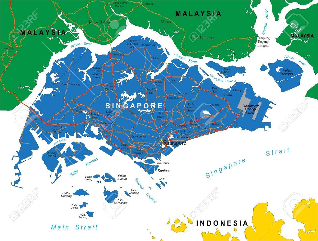 Singapore Map Royalty Free Cliparts Vectors And Stock - Singapore map vector