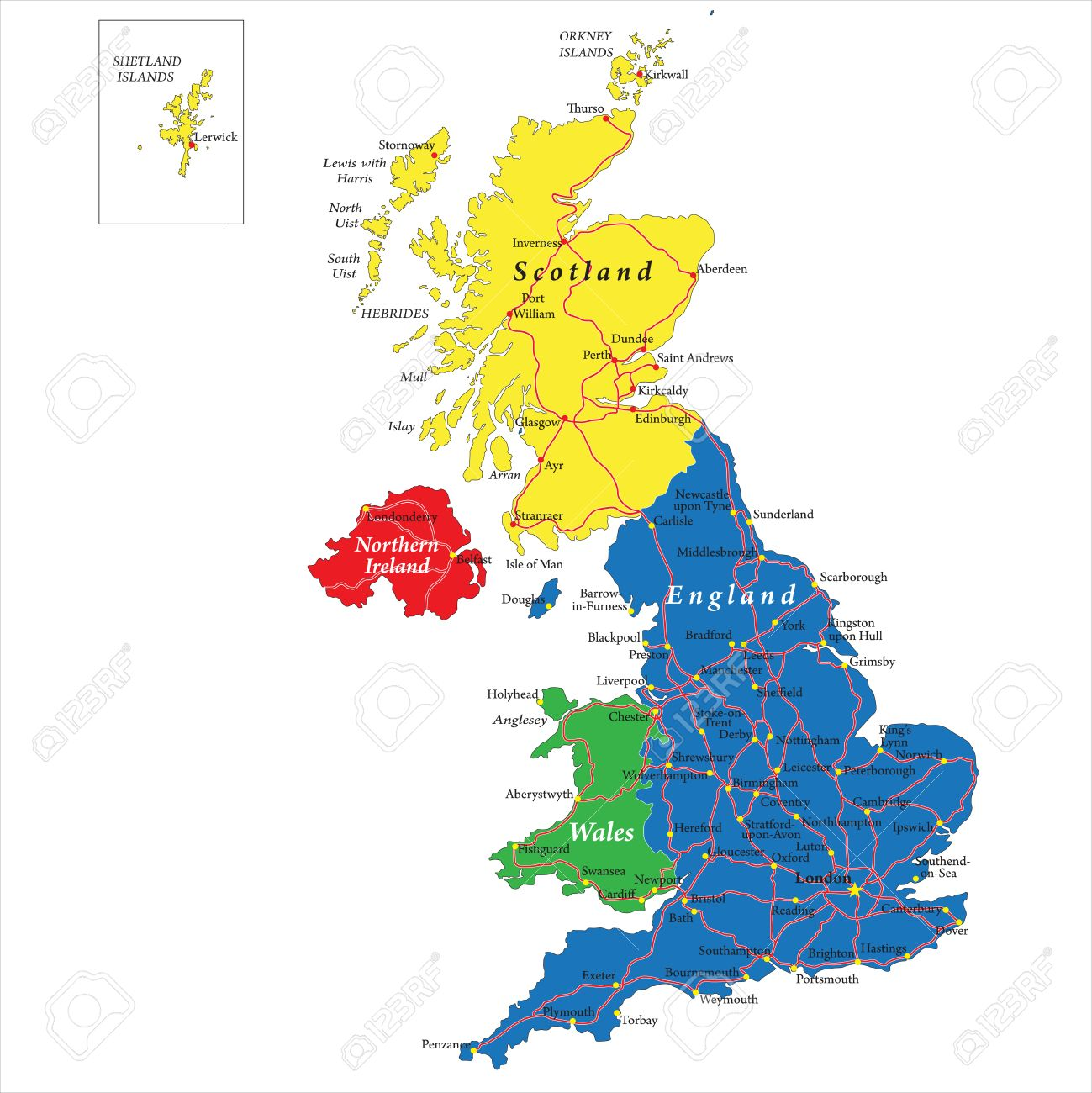 England,Scotland,Wales Map Royalty Free Cliparts, Vectors, And
