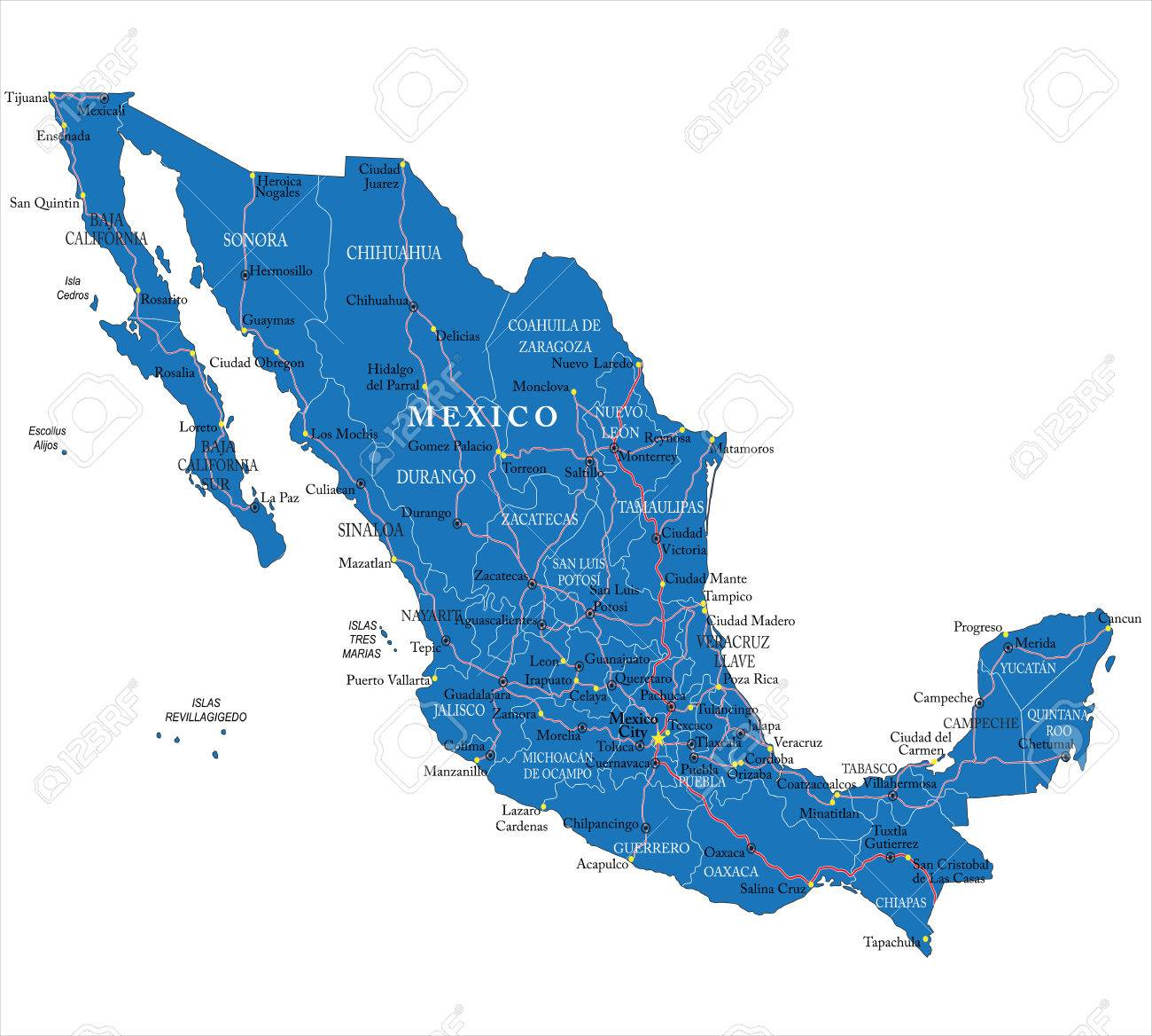 Mexico Map Royalty Free Cliparts Vectors And Stock Illustration
